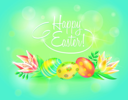 Happy Easter. Easter eggs and flower in sparkling background. Design for paschal banner, greeting card, ad, promotion, poster, flier, blog, social media.