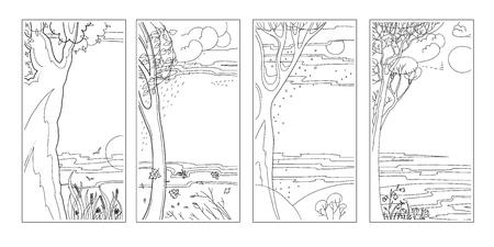 Set black-white flat vector natural backgrounds. Vector illustration.