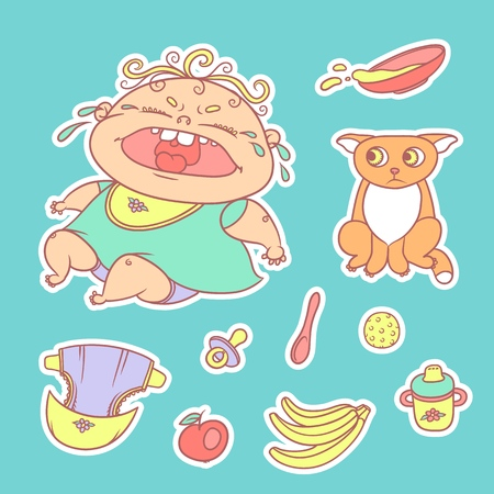 Vector set of color sketch illustrations stickers crying child and scared kitten. Baby bottle with water or milk and a plate of porridge, other food. The flat chubby curly wailing kid and sad red cat.