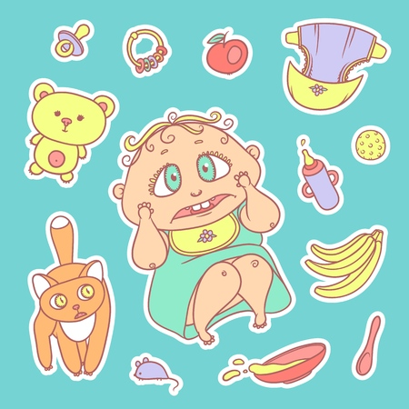 Vector set color sketch illustrations stickers of the scared child and the kitten.
