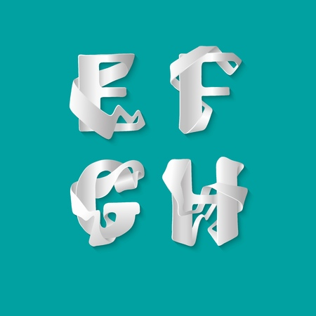 Vector decorative 3d alphabet isolated set of uppercase letters. White elegant letter E, F, G, H. Font of interlocking ribbons. Capital characters are either cut from paper or plastic Illustration
