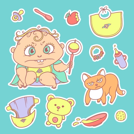 Vector set color sketch illustrations stickers of the angry child and the kitten. Hygiene items, baby care and toys. The flat chubby curly irate kid with big eyes in bright clothes and red cat Illustration