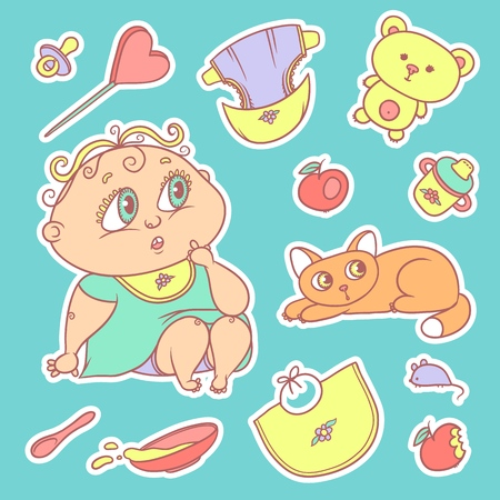 Stickers of the surprised child and the kitten. Hygiene items, baby care and toys.Set of color illustrations.vector