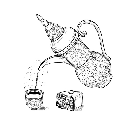 Vintage coffeepot poured coffee into figured cup with flavored vapor vector sketch drawing hot drink and oriental sweetness engraving style. Illustration of Ethiopian or Arabic coffee ceremony.