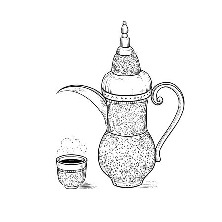Arabic vintage coffeepot and figured cup with a hot drink and a flavored vapor. National coffee ware vector sketch drawing engraving style. Illustration coffee ceremony.
