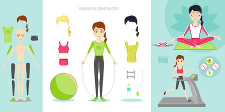 Sportswoman character set.Girl leads a healthy sport lifestyle. Yoga, on the treadmill. Ball, dumbbells, water bottle, various sportswear. Ilustração