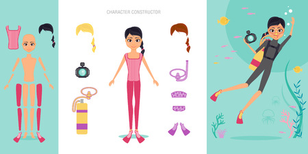 Aqualunger character constructor set.   Girl diver in swimsuit and mask engaged in snorkelling and diving. Shooting for the camera of the underwater world.