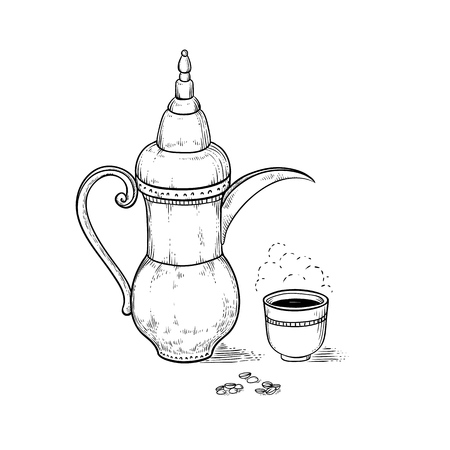 Arabic vintage coffeepot and cup with a hot drink and a flavored vapor, coffee beans. Vector sketch drawing engraving style. Illustration black and white items of the Ethiopian coffee ceremony.