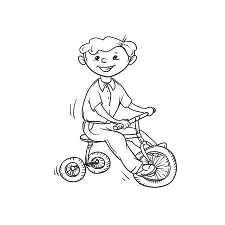Vector sketch boy on tricycle. Little child play sports. Active walk in summer on outdoor. Cartoon black white isolated line illustration.