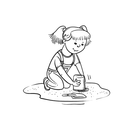 Vector sketch girl play in sandbox. Little child active walk in summer on outdoor. Cartoon black white isolated line illustration.