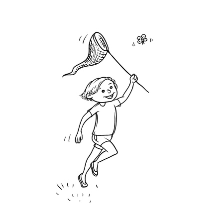 Vector sketch boy run net to catch butterflies. Active play children teenager walk in summer on outdoor sun shining black white isolated illustration. Çizim