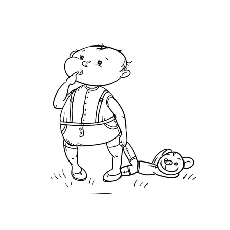 Croquis de vecteur petit garçon regarde avec curiosité et le doigt coincé dans la bouche tient l'ours en peluche dans sa main. Les enfants de jeu actif marchent en été sur l'illustration isolée de dessin animé blanc noir en plein air