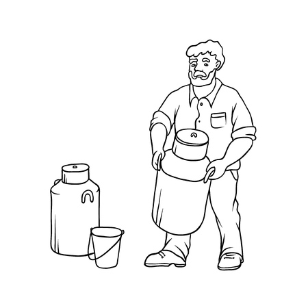 Vector sketch farmer bearded village man in working clothes on ranch with large can of milk in his hands. Capacity and bucket for milk yield black-white isolated illustration Vettoriali