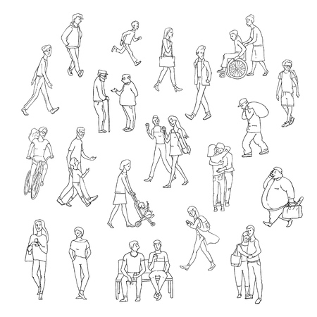 Vector sketch walking people urban residents. Children and adults characters in various situations on street city. Woman with kid, chat friends and other persons. Set illustrations