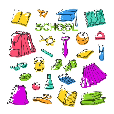 Vector school clothes stationery. Various stylish symbols education for design. Bright set contour illustrations with offset color. Drawn art stylized letters with face. Stock Illustratie