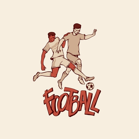 Retro soccers fighting for football ball. Vintage two footballers in sports uniform motion. Vector outline isolated illustration imitation print and inscription painted letters