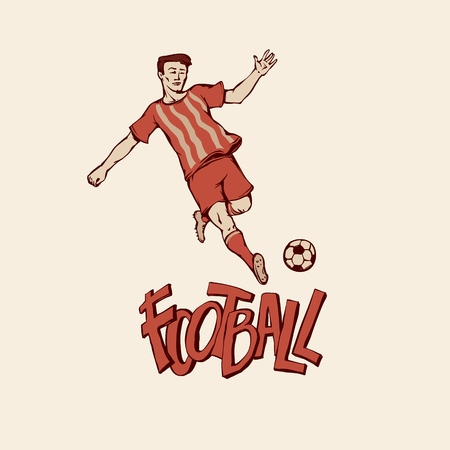 Retro football soccer in sports uniform going to penalty kick ball. Vintage footballer motion. Vector outline illustration imitation print and inscription painted letters Stock Illustratie