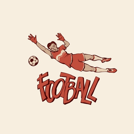 Vector retro football goalkeeper jumps to catch ball. Young footballer motion in sports uniform and gloves. Outline illustration imitation print and inscription painted letters