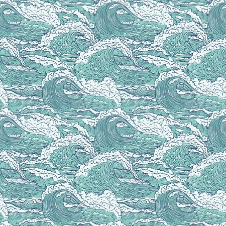 Vector waves sea ocean seamless pattern. Big and small azure bursts splash with foam and bubbles. Outline sketch illustration background.