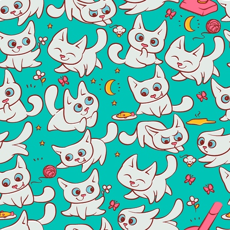 Small white cats seamless pattern different emotions. Kitty play with ball walking in nature hunting for mouse and run away from broom. Vector humor set embossed cartoon illustrations