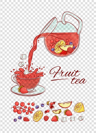 Vector ice tea drink constructor fruits and berries brew process. Make and pour in transparent cup cold aromatic beverage. Sketch set collection hand drawn illustration. Illustration