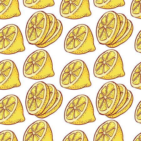 Lemon citrus slices seamless pattern. Stock Illustratie