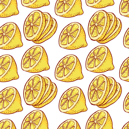 Lemon citrus slices seamless pattern. Çizim