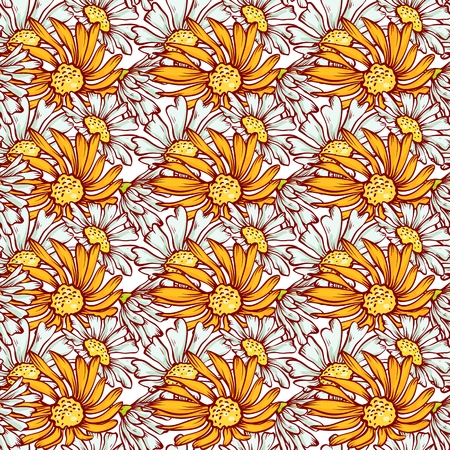 Herbal seamless pattern. Vector sketch background with gerberas and daisies design printing fabric.
