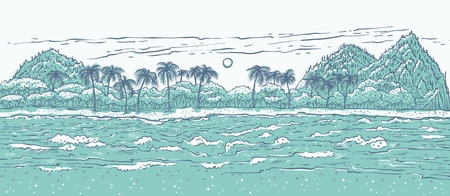 Sandy tropical island with sea waves surf and palm trees. Monochrome landscape beach in ocean for summer holiday and tourism. Vector illustration background for design cards or banner. Illustration