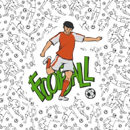 Vector de fútbol soccer en uniforme deportivo golpea la pelota. Movimiento de deportista vintage sobre fondo de inscripción y patrón transparente blanco negro con diferentes jugadores. Esquema de ilustración plana.