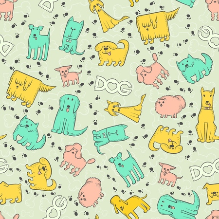 Vector seamless pattern different dog breeds. Funny caricature animals characters and footprints. Background with bones, inscription and heart. Contour set sketch illustration Illustration