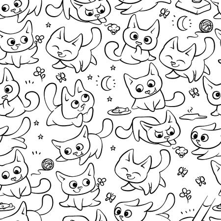 Kleine zwarte witte katten naadloze patroon verschillende emoties. Kitty spelen met bal wandelen in de natuur op jacht naar muis en rennen weg van bezem. Vector humor achtergrond in reliëf cartoon illustraties.