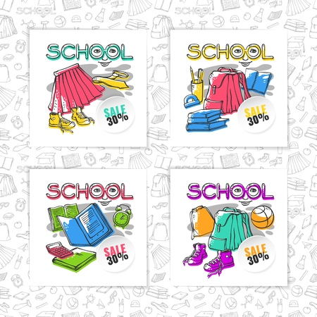Vector school symbols education set card or banner stylish design with gray seamless pattern background outline clothes stationery with offset color. Drawn art stylized letters with face Ilustracja