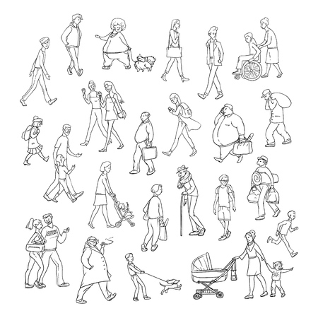 Vector sketch people walk down street. Children and adults characters different ages, physiques and moods. Mother with stroller, schoolchildren and young friends. Set persons illustration.