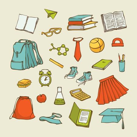 Vector set back to school elements clothes stationery. Various cartoon symbols education for design. Sketch contour illustration