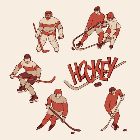 Retro set hockey player and goalkeeper in sports uniform. Vintage sportsmans motion with hockey stick and puck in different race. Vector outline illustration imitation print and inscription letters. Vektoros illusztráció