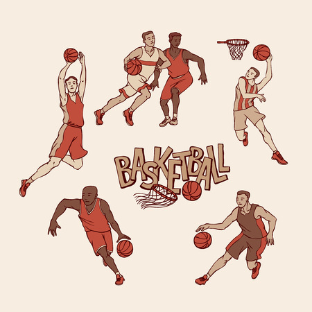 Retro basketball players in sports uniform. Vintage sportsmans motion with ball in different poses and race. Vector outline illustration imitation print and inscription painted letters