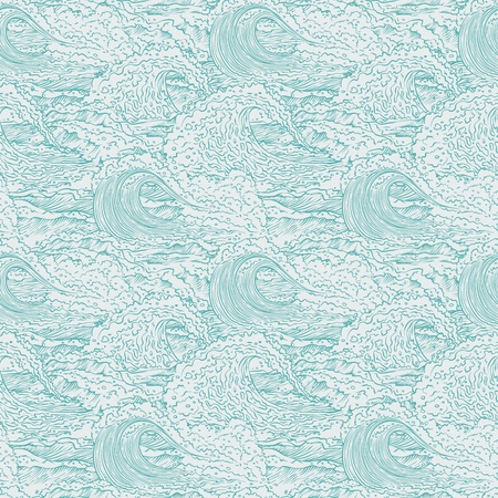 Vector waves sea ocean seamless background pattern. Big and small bursts splash with foam and bubbles. Outline sketch illustration. Illustration
