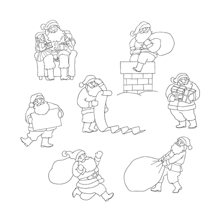 Vector set Santa Claus in different situations. Christmas grandfather with bag hurry give gifts to children. Illustration black white sketch isolated symbol of winter holiday