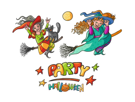 Set girls witches on broom with cats for Children party Halloween. Illustration cheerful humorous young magician and pet to all saints day. Bright vector charmers pointed hats flying and build faces.