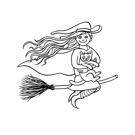 Halloween good girl witch on broom with white cat. Young magician and pet to all saints day. Vector black white sketch illustration pretty charmers in pointed hat flying.