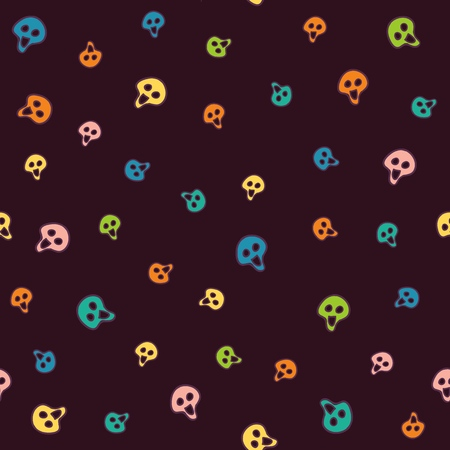 Halloween bright vector seamless pattern colorful skulls to all saints day. Fun festive background for the party, gift wrapping or cards