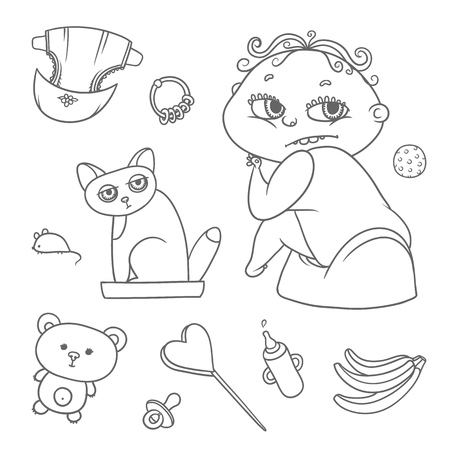 Vector set child sitting on pot and kitten in cat litter. Baby bottle with water or milk, other care and food. Flat black color sketch contour illustration