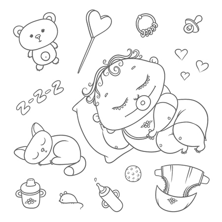 Sleeping child and kitten. Hygiene items, baby care and toys. Chubby curly asleep kid with pacifier in his mouth in clothes and cat. Vector set flat black color sketch contour illustration