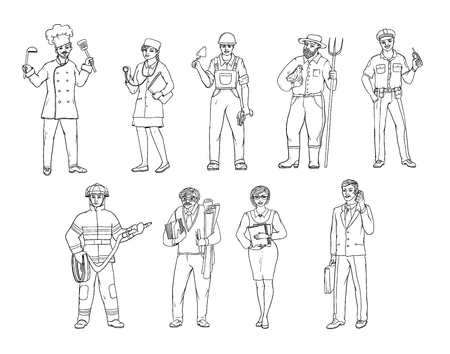 People of various professions in overalls and with tools in hand. Vector black and white sketch of a realistic illustration. Women and men working in different sectors of production and services. 免版税图像
