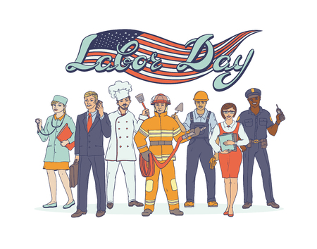 People different professions. National holiday Labor Day. Greeting card with American flag. Vector sketch pop art illustration occupations set. Woman and man working in sectors industry and services.