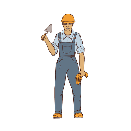 Male builder in overalls, hard hat, trowel and gloves in his hands. Worker in construction. People of professions. Vector colored sketch of realistic illustration.