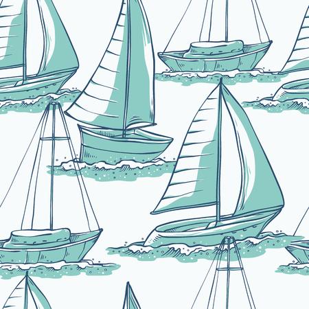 Voiliers de modèle sans couture de vecteur sur les vagues de la mer. Transport par eau pour les voyages, les loisirs et les sports turquoise monochrome d'illustrations de croquis de ligne isolés sur fond blanc.
