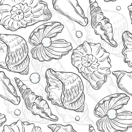 Vector seamless pattern sea shells and pearls different shapes. Clamshells monochrome black white outline sketch illustration isolated on white background for design on marine theme.