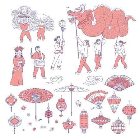 Symbole Chiński Nowy rok ludzie w tradycyjnych strojach. Grafika liniowa wektor zestaw latarnie talizmany do dekoracji domu wakacje. Parada narodowa i symbole kultury chińskiej